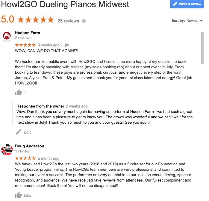 the best reviewed live music show in IL and IN is by howl2go dueling pianos!